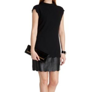 Ted Baker Mixed Media Leather Trim Shift Dress